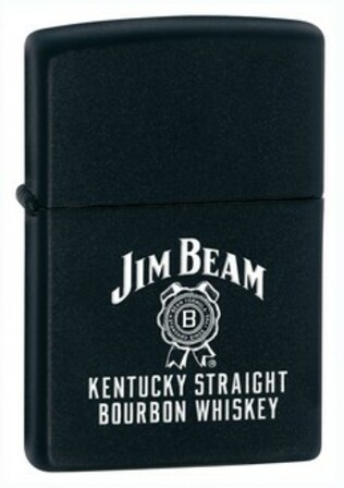 Jim Beam's Kentucky Straight Black Matte Zippo Lighter - ID# 28072