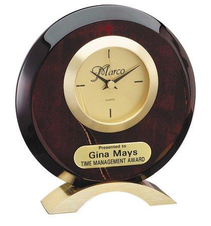Personalized Circular Rosewood Desk Clock