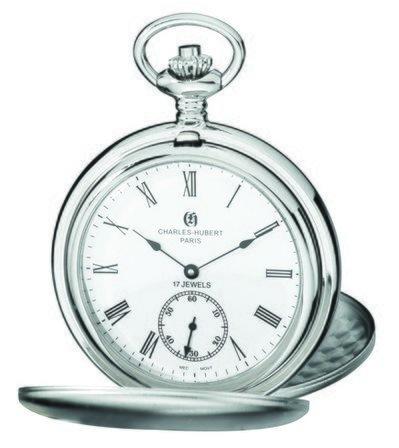 Satin Silver Charles Hubert Pocket Watch & Chain #3908-WR