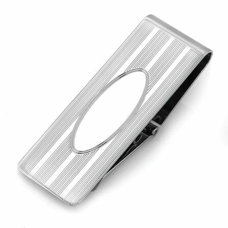 Sterling Silver Engine Turned Hinged Money Clip with Oval Engraving Area