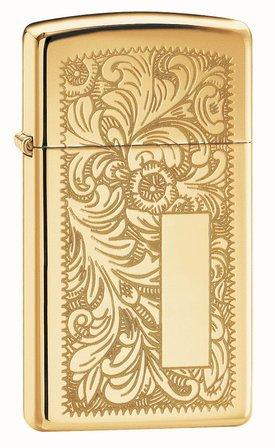 Venetian Slim High Polish Brass Zippo Lighter