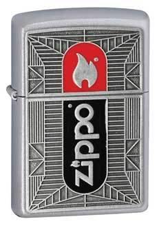 Zippo Flame Emblem Satin Chrome Zippo Lighter - ID# 24830 - Discontinued