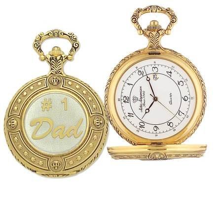 """#1 Dad"" Themed Quartz Pocket Watch with Matching Chain by Jules Jurgensen"