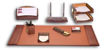 10 Piece Crocodile Embossed Leather Desk Set