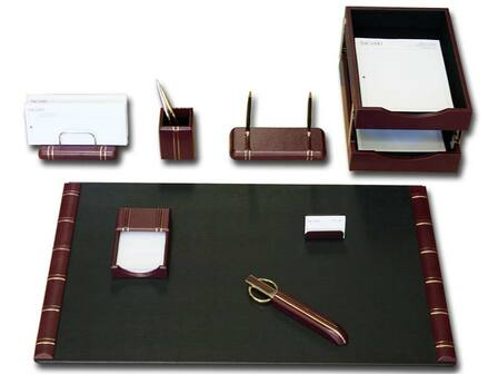 10 Piece Gold Striped Leather Desk Set - Discontinued