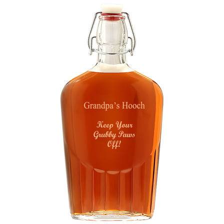 Large Personalized Vintage Glass Flask
