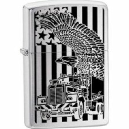 18 Wheeler Brushed Chrome Zippo Lighter - ID# 24826 - Discontinued