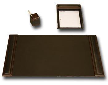 3 Piece Wood & Leather Desk Set