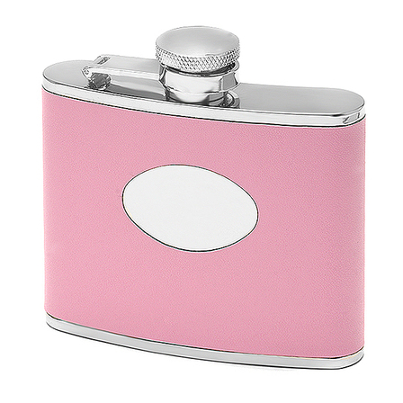 4 Ounce Pink Leather Monogrammed  Flask