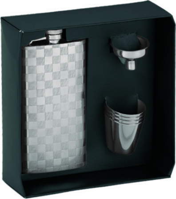 Engraved Hip Flask & Shot Cups Gift Set