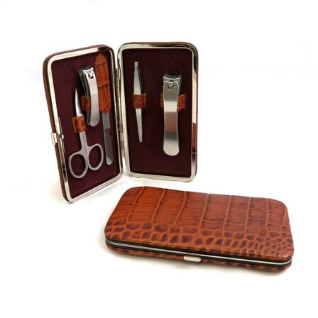 5 Piece Croco Leather Manicure Set