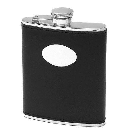 6 ounce Black Leather Monogrammed Liquor Flask