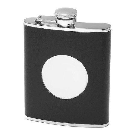 Black Leather Monogrammed Flask