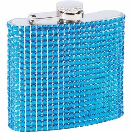 6 Ounce Blue Bling Flask
