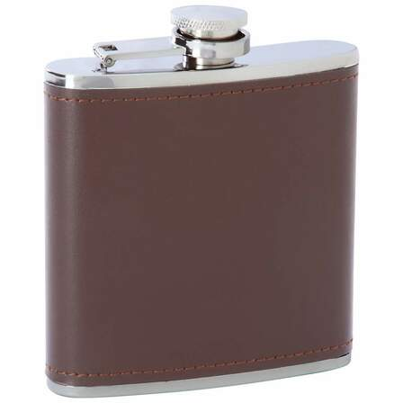 6 Ounce Brown Leather Engraved Flask