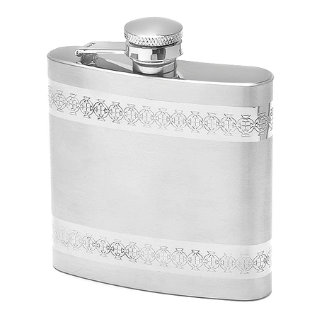 Brushed Finish Engraved Flask with Ornate Striping