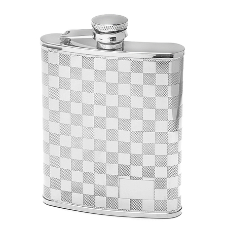 6 Ounce Checker Pattern Engraved Flask