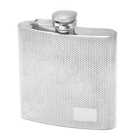 6 Ounce Diamond Finish Engraved Flask