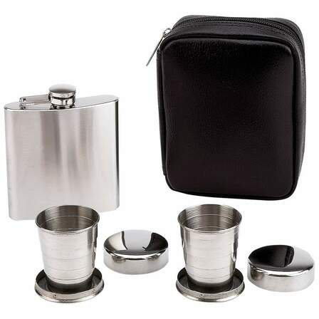 Engraved Flask with Collapsible Shot Cups Set