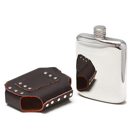 Engraved Steel Flask With Leather Belt Holster