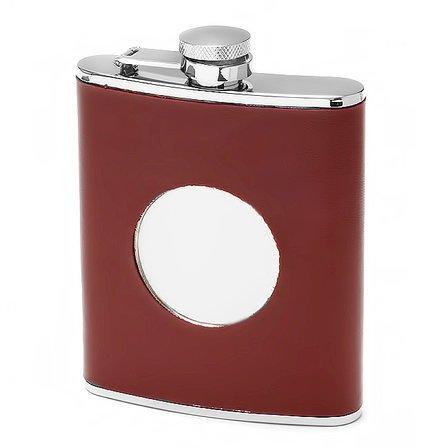 Maroon Leather Monogrammed Flask