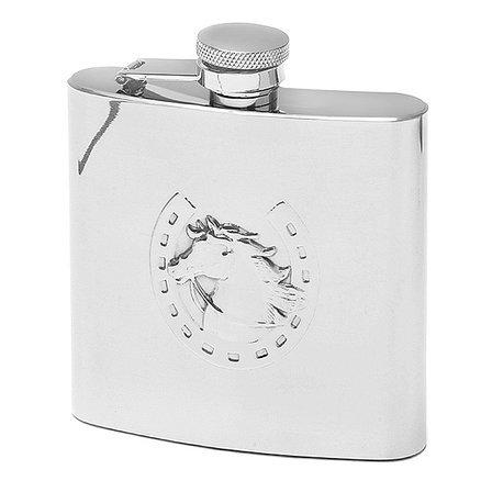 Horse & Horseshoe Engraved Flask