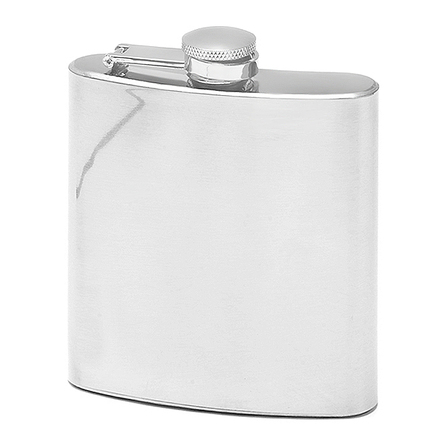 6 Ounce Polished Steel Engraved Flask