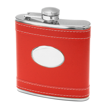6 Ounce Red Leather Engraved Flask - Discontinued