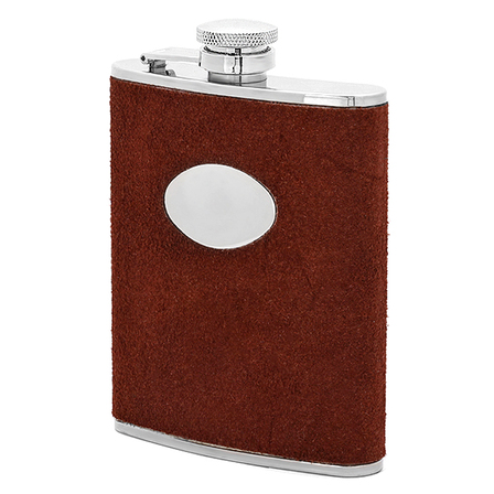 6 Ounce Reversed Leather Engraved Flask