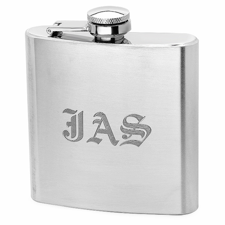 6 Ounce Satin Finish Engraved Flask