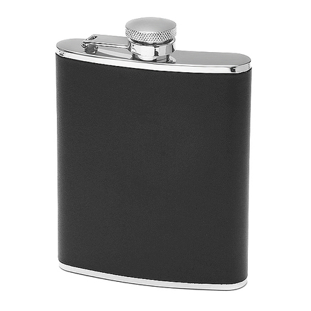6 oz Black Leather Personalized Flask