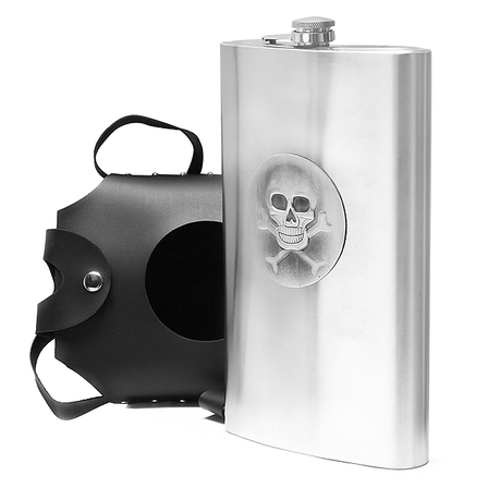 64 Ounce Super Sized Flask with Skull & Crossbones Holster - Discontinued