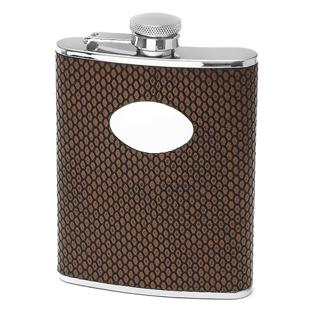 Dimpled Brown Engraved PVC Flask