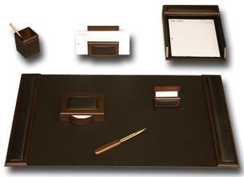 7 Piece Wood & Leather Desk Set