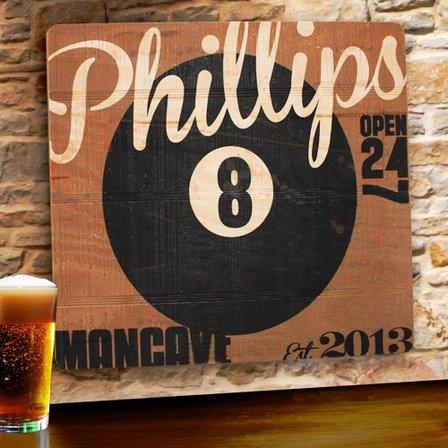 8 Ball Tavern Wooden Bar Sign - Free Personalization
