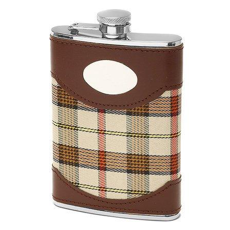 Argyle & Leather Engraved Flask