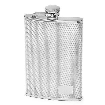 8 Ounce Diamond Pattern Engraved Flask