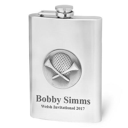 Engraved Golfer's Hip Flask