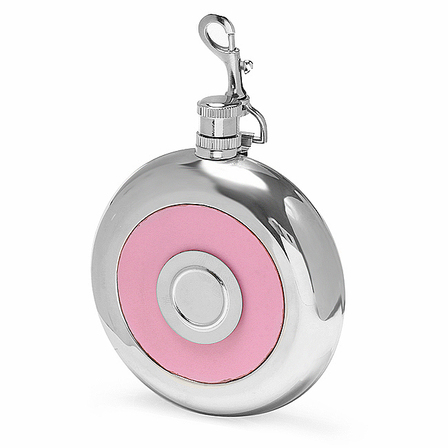 Pink Leather Round Flask with Shot Cup