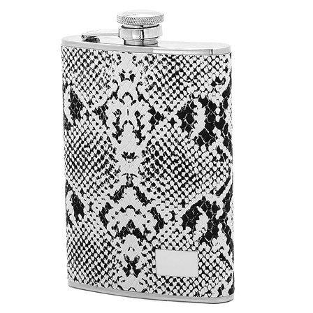 Black & White Snakeskin Alcohol Flask