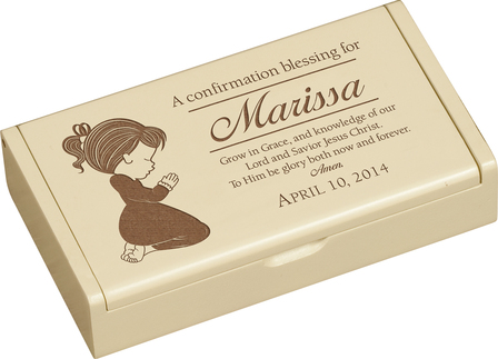 A Confirmation Blessing (Girl) Personalized Ivory Wood Box
