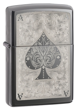 Ace of Spades Black Ice Zippo Lighter - ID# 28323