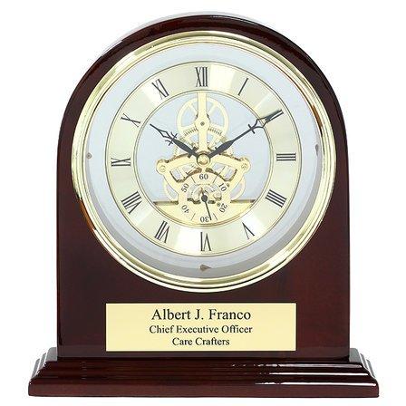 Admiral Piano Finish Personalized Arch Desk Clock