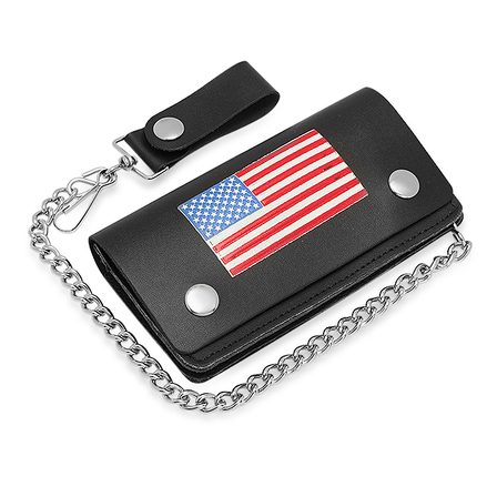 American Flag Theme Biker Wallet With Chain