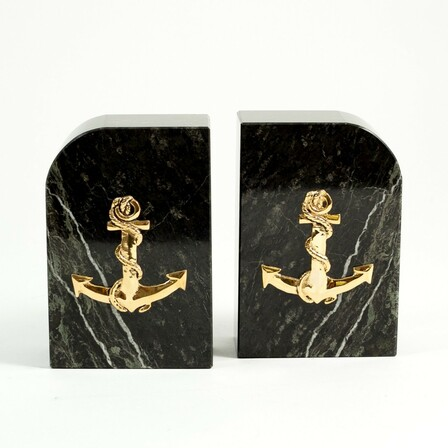 Anchor Green Marble Bookends