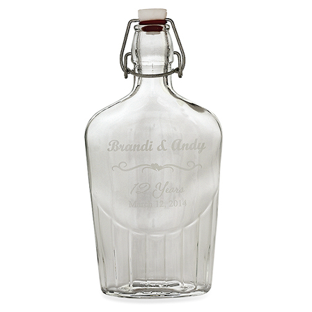 Anniversary Gift Personalized Glass Flask