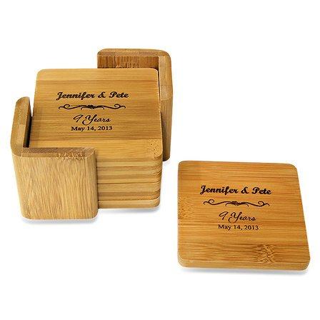 Anniversary Gift  Square Bamboo Coaster Set