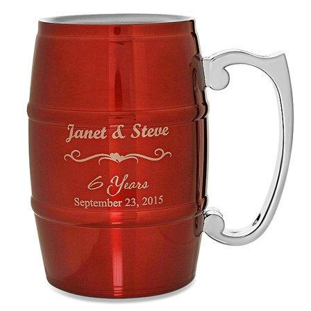 Anniversary Gifts  Steel Barrel Beer Mug - Red