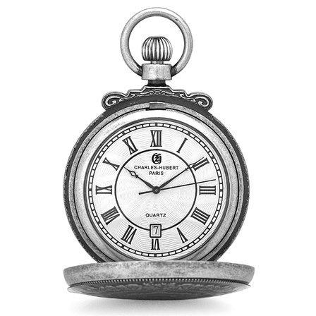 Antique Silver Quartz Charles Hubert Pocket Watch & Chain #3864-S
