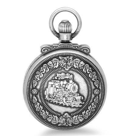 Antique Silver Quartz Railroad Charles Hubert Pocket Watch & Chain #3863-S